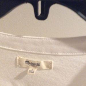 Madewell Tops - White 3/4 sleeve white cotton v neck shirt